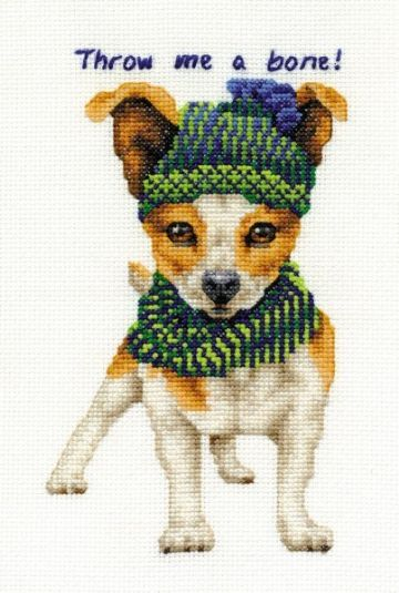DMC Jack Russell - Throw me a Bone  BK1576 Cross Stitch Kit